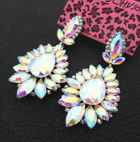 Women's AB Crystal Rhinestone Flower Betsey Johnson Stud Dangle Earrings