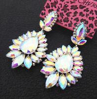 Women's AB Crystal Rhinestone Flower Betsey Johnson Stud Dangle Earrings