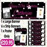 PERSONALISED 2 PHOTO BIRTHDAY PARTY BANNER PACKS ANY AGE, ANY NAME, ANY EVENT