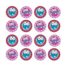 16x EDIBLE Giggle Hoot Hootabelle Owl Cupcake Birthday Wafer Paper 4cm (uncut)