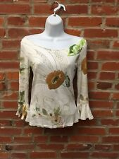 Vintage 90s 2000s White Floral Boatneck Top Womens Ruffle Sleeves Cottonade 1489