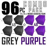 "Acoustic Foam Combo 96 pack Purple/Gray Wedge Soundproof Studio tiles 12x12x1"""