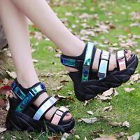 Womens High Wedge Heel Platform Sport Sandals Gladiator Creeper Slingback Shoes