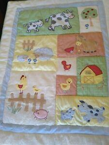 Kidsline Barnyard Nursery Cot Set Farmyard Animals Embroidered Quilt Sheets