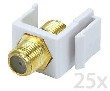 25x F-Type Insert Keystone Coax Jack Connectors Adapters RG59 RG6 White Lot New