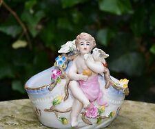 Figur Porzellanfigur  Porzellan Vase Engelfigur Engelchen mit Vogel