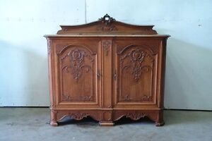 5507011-2 : Antique French Leige Oak Louis XV Style Cabinet Console Sideboard