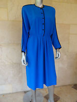 Vintage 1970s Lilli Ann Petite Blue Long Sleeves Casual Wear to Work Dress Sz M