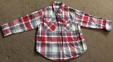 Adams - boys red/white/grey long-sleeved checked shirt - aged 3 years