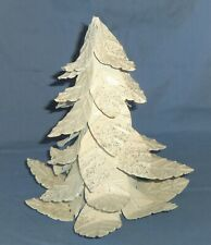 "9"" Metal Artificial Christmas Tree White w/ Silver Glitter Figurine Tree Topper"