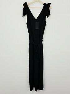 PORTMANS Womens Size 10 Black Bow Shoulder Jumpsuit NEW + TAGS RRP $129.95