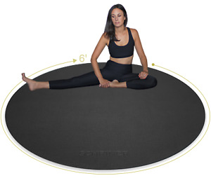 Pro Large Round Yoga Mat 6' x 8mm for Exercise Premium Extra Thick, Ultra Comfor