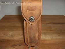 BUCK KNIFE - BROWN DISTRESSED LEATHER SHEATH - #110 BELT SHEATH WITH BUCK LOGO