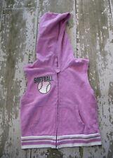 JUSTICE Purple Hooded Fast pitch SOFTBALL Zip Front Sweatshirt Vest Hoodie Sz 10