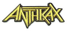 """ANTHRAX yellow on black logo EMBROIDERED IRON-ON PATCH **FREE SHIPPING** 4.25"""""""