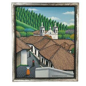1969 Tulio Velasquez San Antonio de Oriente Honduras C.A. Oil on Canvas Sign LR