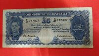 Australia: 1952 LAST ISSUE KGVI £5 5 POUNDS COOMBS - WILSON BANKNOTE