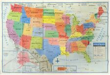 13 Maps of The United States Wall Map 40x28 for Office School Kids Room Library