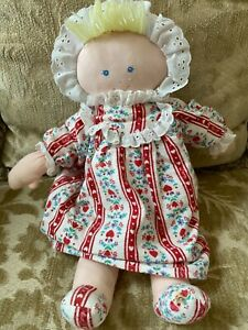 Rare Eden Lanz Of Salzburg Soft Plush Doll In Nightgown Hearts Flowers Red Blue