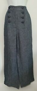 BB Dakota Womens Sailor Pants Size 0 Blue Linen Chambray Wide Leg High-Waisted