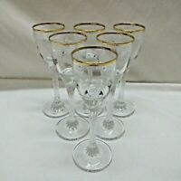 Set of 6 Cordial Glasses with Twisted Stem, Gold Rim, Grape Pattern, Very Nice!