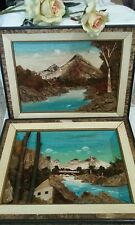 set of 2 JAPANESE WOOD 3-D PICTURE BARK MOSS LANDSCAPES Shadow Box RELISTED