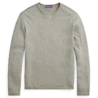 $395 Ralph Lauren Purple Label Crewneck Long Sleeve Jersey Grey T Shirt Sweater
