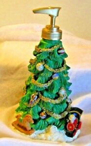 Hand Soap or Lotion Dispenser Decorated Christmas tree Gifts & Train SKL Resin