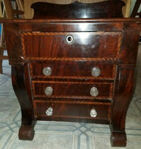 Antique 1850's Miniature Inlayed 4 Dr. Chest