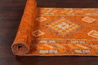 Antique Geometric Tribal 9 ft Orange Moroccan Wool Runner Rug 8' 6'' x 2' 8''