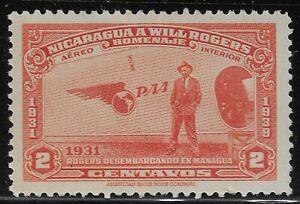 Nicaragua 1939 Sc# C237 Airmail Rogers Managua Plane 2c MH (JBX)