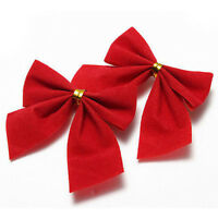 12X Christmas Tree Bow Decoration Baubles XMAS Party Garden Bows Ornament EW