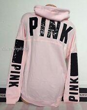 Victoria's Secret Pink Light Pink Black Bling Cowl Neck Pullover Sweater -L *NIP