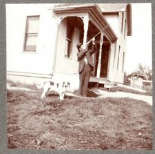 vintage cabinet photo young man hound dog/beagle aiming shotgun country house