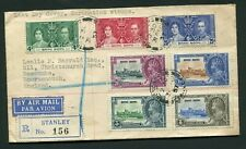 1935 Silver Jubilee Hong Kong set with37 Coronation set on cover STANLEY cancels