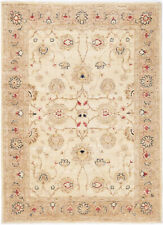 5X7 Hand-Knotted Farhan Carpet Traditional Ivory Fine Wool Area Rug D28985
