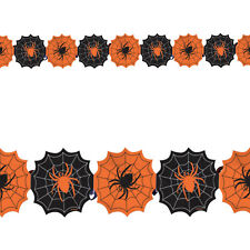 2.8m Halloween Party Spooky Spiders Web Printed Paper Garland Decoration