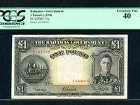 Bahamas:P-11e,1 Pound,1936 * King George VI * RARE * PCGS EF 40 *