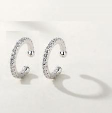 A Pair 925 Sterling Silver Clear CZ Clip Ear Nose Cuff Earrings No Pierced F33