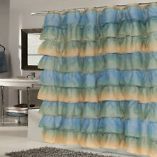 "Elegant Umber Crushed Voile Ruffled Tier Shower Curtain 70"" x 72"""