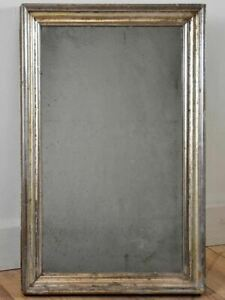 """Small late 19th Century rectangular mirror with silver frame 14¼"""" x 22½"""""""