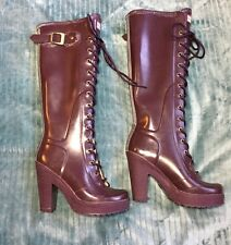 Hunter Lapins Eggplant Purple Lace Up High Heel Rain Boots Size 5
