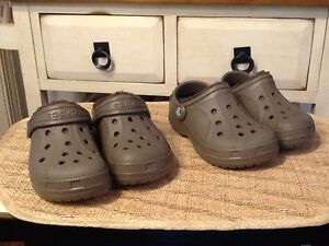 Crocs Kid's Classic Fuzz Brown Lined Clog Sz C10