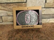"""Browning pink bling belt buckle 3"""" x 4"""" Free Postage"""