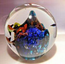 Colorful Vintage Fish Swimming Around A Coral Reef Paperweight