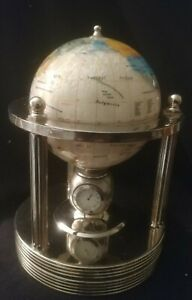 Vintage rotating Stone Globe Mother of Pearl inlay with clock