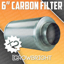 """2 PC 6"""" CARBON AIR FILTER SCRUBBER ODOR CONTROL INLINE Activated Hydroponic inch"""