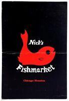 Original Vintage Menu NICK'S FISHMARKET RESTAURANT Chicago IL Houston TX