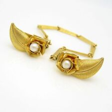 Vintage Sweater Guard Mid Century Gold Plated Flowers Faux Pearls Pretty Design