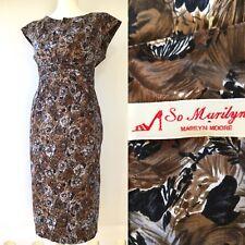 MARILYN MOORE - Vintage Print Floral Cotton Dress Brown- UK14 -